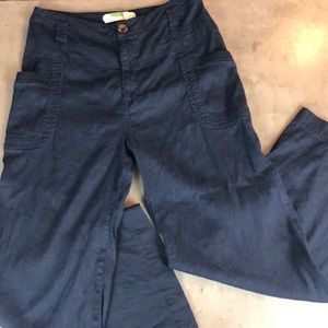 Anthropologie Wide Leg Navy Linen Pant